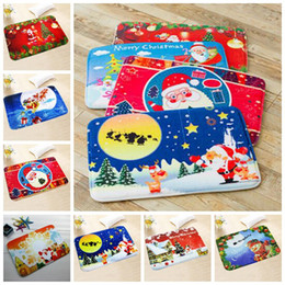 Wholesale Pvc Bathroom Mat - 7 Styles New 40*60cm Christmas Floor Mat HD Printed Non-Slip Kitchen Bath Mat Absorbent Waterproof Home Decor CCA7609 200pcs