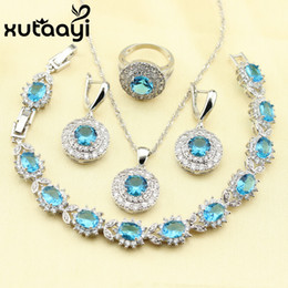 Wholesale Zircon Necklace Sets - XUTAAYI Stunning Alluring Blue Zircon 4PCS Jewelry Set 925 Sterling Silver Earrings Ring Necklace Pendant Bracelet