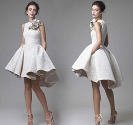 Wholesale High Low White Crystal Dress - 2017 Krikor Jabotian Lace Short Cocktail Dress Short Front Long Back with Flower Decorations High Low Short Prom Homecoming Dress