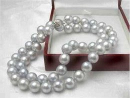 Wholesale Rare Shells - Rare! Gray 8MM Akoya Cultured Shell Pearl Necklace 18'' AAA