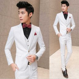 Wholesale Korea Hot Pants - Wholesale- New Fashion Hot Brand 2016 autumn men's casual high quality striped wedding suit male slim korea style blazer vest and pants