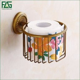 Wholesale Antique Brass Toilet Paper - FLG Wall Mounted Antique Brass Bathroom Accessories Toilet Paper Holder Sets Printing Toilet Roll Holder,Free Shipping 80112