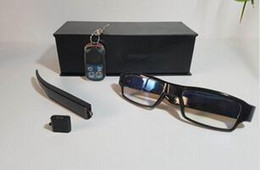 Wholesale Digital Eyewear Camera - New Remote control Full HD 1080P Glasses hidden camera change battery Digital Video Camera Eyewear no hole DVR Camcorder mini DV USB Disk
