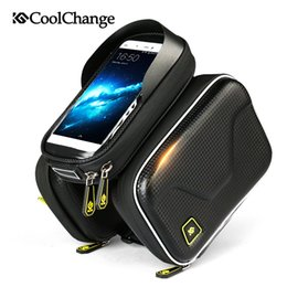 Wholesale Top Tube Bag Phone - Waterproof Touch Screen Bicycle Bag Frame Front Top Bike Bag Double Pouch Cycling Bag 6.0 in Cell Phone Accessories