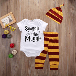 boys preppy suits Promo Codes - 3PCS Newborn Baby Boys Top Romper Pants Leggings Hat Striped Harry Potter Outfit Set Cotton Clothes Snle This Mle 3-18M Wholesale Suit