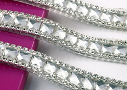 Wholesale Metal Hotfix - freeshippment White Rhinestones bead Silver Chain Iron on Hotfix Crystal rhinestone Chain Applique Lace Ribbon Trim For Wedding Dress