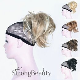 Wholesale Hairpieces For Short Hair - Ponytail Clip-on Short straight ponytail hair Hairpiece peruvian glueless full lace wigs lace front wigs for