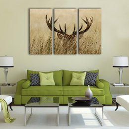 Wholesale Long Wall Art Canvas - 3 Picture Canvas Wall Art Deer Stag With Long Antler In The Bushes Picture Prints Animals Painting with Wooden Framed for Home Decoration