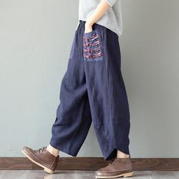 Wholesale Cotton Linen Trousers Women - Woman Trousers Cotton Linen Loose Plus Size Wide Leg Pants Elastic Waist Vintage Womens Casual Harem Pants