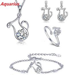 Wholesale 12 Zodiac Bracelet - Hot 12 Zodiac Signs 925 Silver Plated Jewelry Set Fashion Crystal Pendants Necklaces Bracelet Ring Stud Earrings Set For Women Girl Gift