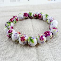 Wholesale Ceramic Applique - Beaded handmade bracelet Applique blue and white rubber band bracelet bracelet with 10 mm