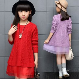Wholesale Pullover Child Female - Children 's clothing girls winter new female sweater large middle children fall paragraph sweater Princess dress