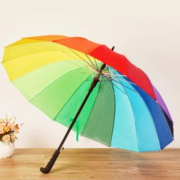 Wholesale Rainbow Straight Umbrella - Fashion Rainbow Umbrella Water Proof Sun Rain 16K Golf Umbrella Women Automatic Long-handle Straight Parasol Free Shipping ZA3619