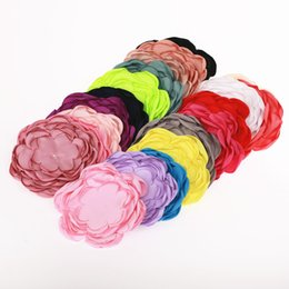 Wholesale Large Handmade Flowers - 20pcs Handmade Large 9 Layers Burned Satin Flower Appliques For Girls Headband Hair Clips Accessories Diy Flower