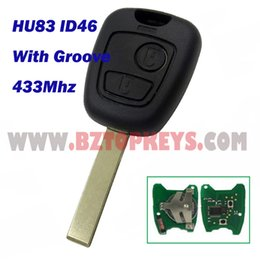 Wholesale Auto Remote Key Peugeot - PC0010 Remote car key 2button With Groove HU83 Key 434Mhz 46chip for Peugeot 307 Auto remote head key