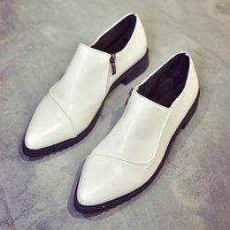 Wholesale Dress Ad - Wholesale- AD AcolorDay 2017 Hot Sale Pointed Toe Women Shoes Zip Solid Leather Oxford Shoes for Women White Cozy Flat Shoes Women Spring