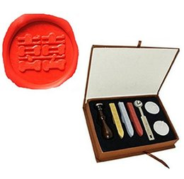 Wholesale Double Happiness Wedding Invitations - Vintage Chinese Character Double Happiness Picture Logo Wedding Invitation Wax Seal Sealing Stamp Sticks Spoon Gift Box Set Kit