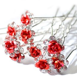 Wholesale diamante hair accessories - 20Pc Lot Women Bridal Wedding Crystal Diamante Flower Rose Hairpin Clip Barrettes Sticks Hair Braider Styling Tools Accessories