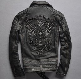 Wholesale Diagonal Zipper Leather Motorcycle Jacket - Men's diagonal zipper geniune cow leather retro old Harley thickening head layerleather lapel collar motorcycle leather jacket
