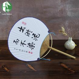 Chinesisches malpapier online-Weihnachten im chinesischen Stil Hand Fan Bambus handgefertigt mit runden Papier malen Blumen Damen Sommer Party Geschenk Vintage Art Craft Home Dekoration