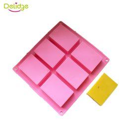 Delidge 10 шт. 6 полости 3D ручной прямоугольник квадрат Силиконовый мыло плесень шоколад печенье плесень торт украшение помадной формы от