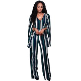 Wholesale Open Back Rompers - Wholesale- Cloak Long Sleeve Open Back Sexy Jumpsuits Wide Leg Overalls Women Full Length Rompers With Cape Street Playsuit Beyonce Costume
