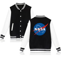 casacos atacadistas de mulheres bombardeiras Desconto Atacado- homens primavera outono jaquetas casaco de beisebol mulheres NASA jaqueta curta solto mens clothing casacos maneau homme jaqueta bomber b110