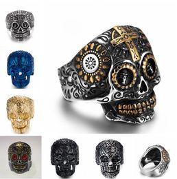 Wholesale Men S Fashion Rings - Stainless steel Men's Biker Rings Punk Harley motorcycles Skull Skeleton Cross male Ring For man s Fashion Jewelry R663