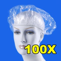 Wholesale Off Products - 100pcs pack Disposable Hat Hotel One-Off Elastic Shower Bathing Cap Clear Hair Salon Bathroom Products Free Shipping