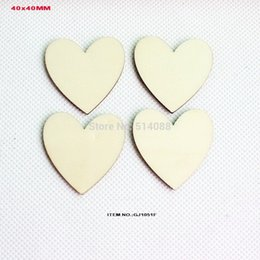 Wholesale Crafts Unfinished - Wholesale- (120pcs lot) Unfinished wooden heart love crafts suppliers wedding save date heart cutout 40MM-GJ1051F