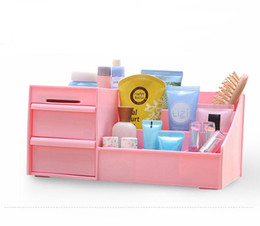 Wholesale Desktop Drawers - 1PC Korean PP plastic waterproof cosmetics drawer type storage box jewelry box Creative Desktop Storage Bins O 0219