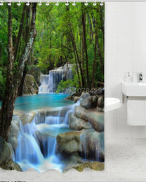 country set da bagno Sconti All'ingrosso-Shower Curtain Wonders Cascate Natura Paesaggio Bagno Impermeabile Mildewproof Tessuto in poliestere con tessuto 72 pollici +12 ganci