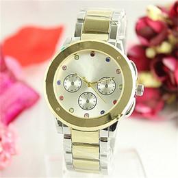 Argentina Relojes de cuarzo de las mujeres uartz Color de la manera incrustaciones de diamante Diamante reloj de cuarzo Relojes de acero inoxidable reloj de cuarzo de la muñeca de aleación cheap quartz colours watch Suministro
