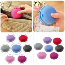 Wholesale Round Zipper Pouch - New Mini Earphone Bag Headphone Box Portable Coin Purse Carrying Zipper Bag Pouch Pocket Case Round Storage Headset box Colorful