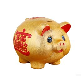 Wholesale Gold Piggy Bank - Porcelain gold pig can store money jar creative gift children piggy bank to open a gold pig