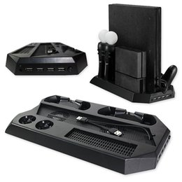 Wholesale Ps Station - PS4 Pro PS VR Gamepad Dual Fan Cooling Station Multifunction Vertical Stand with Controller Charging Dock