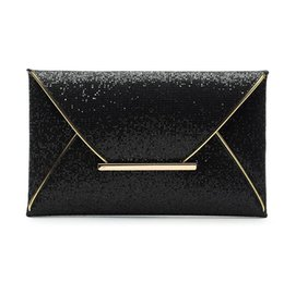 Wholesale Evening Clutch Bags Womens - Wholesale-Luxury Fashion Womens Sequins Envelope Bag Gold Coffee Black Twinkly Color Evening Party Purse Clutch Handbag
