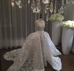 Wholesale Dresses Removable - 2017 New Saudi Arabic Over Skirt Wedding Dresses Lace Appliques Strapless Backless Sleeveless Elegant Bridal Gowns with Removable Skirt