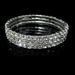 Wholesale Alloy Rhinestone Rings - New Cheap 3 Row Stretch Bridal Bangle Silver Rhinestones Cute Prom Homecoming Wedding Party Evening Jewelry Bracelet Bridal Accessories