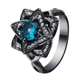 Wholesale Gold Crystal Flower Set - Luxury the created topaz love flower Blue CZ zircon Wedding Ring Black gold Plated Crystal 2017 new Vintage engagement jewelry