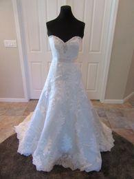 Wholesale Crystal Sash Band - Real Photos A Line Lace Bridal Gown Sweetheart Crystal Beaded Satin Ribbon Band Wedding Dress Vestido De Noiva COR-1189