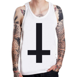 Wholesale Mens Sleeveless Tees - Wholesale- Inverted Cross Anti Goth Punk Rock Symbol Mens Tank Top Boy Sleeveless Tee Shirt US Size S-XXXL