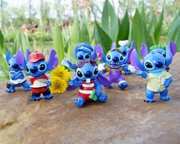 Wholesale Baby Lilo Stitch - 8pcs Lilo Stitch 6cm Blue PVC Anime Cartoon Action Figure Toy Mini Dolls Baby Toys Gifts Free Shipping