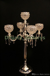 Wholesale Crystal Wedding Candelabra Wholesale - 75 cm height 5-arms metal Gold candelabras with crystal pendants wedding candle holder Event centerpiece