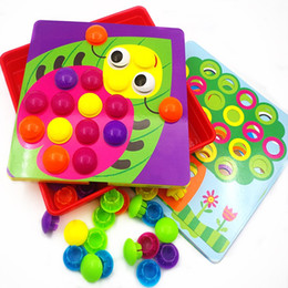 Wholesale Picture Puzzles Kids - 2017 3D Puzzles Toys For Children Composite Picture Puzzle Creative Mosaic Mushroom Nail Kit Button Art Kids Toy