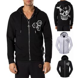 Wholesale Multi Zipper Hoodies - Europe Brand Crystal Skull Sweatshirt Men Multi Printed Full Zip Through Up Hooded Cardigan Hoodie Man Sweat Hood Jumpers Sports Wear Male