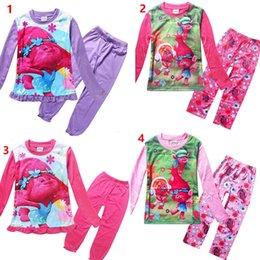 Wholesale Suit Pajamas Girl - 2017 Children Trolls printing Pajamas outfits new kids cartoon top+ Pants 2pcs set baby suit Kids Clothing