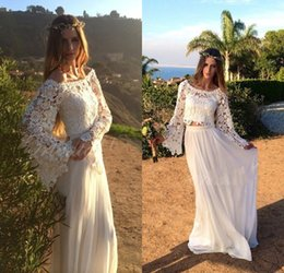 Wholesale Black Crochet Off Shoulder - 2017 Bohemian Lace Two Pieces Wedding Dresses with Bell Sleeve Off the Shoulder Crochet Lace Top Chiffon Skirt Beach Summer Bridal Gowns