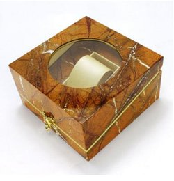 Wholesale Painting Wooden - Free shipping superior quality classical Luxury watch boxes cases paint marbling brown wooden box jewelry case glass cover PU interior