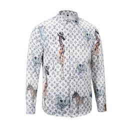 Wholesale Mens Blouse Shirts - Mens Designer Shirts 2017 Autumn winter Harajuku Medusa Camisa social masculina Fashion Plaid Casual shirts Men long sleeve blouse m-3xl